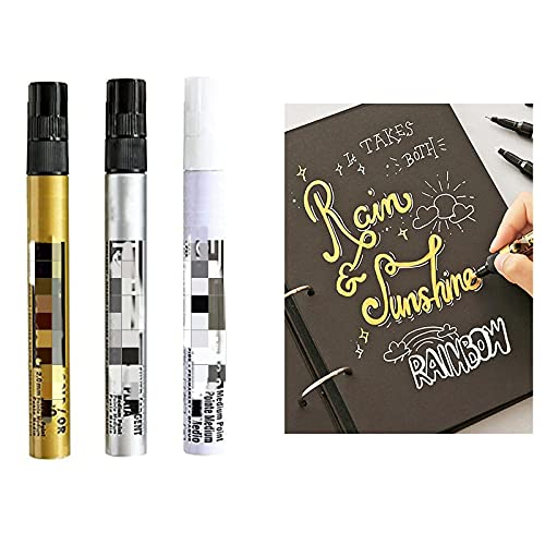 Gold Art Liquid Mirror Chrome Marker, Liquid Chrome Marker, Permanent Mirror Reflective Paint Pen Suitable for Any Surface Like Plastic, Glass, Metal, Clay.etc. (Gold+Silver+White, 1mm)