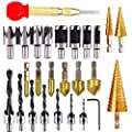 26 Pieces Wood Plug Cutter Step Drill Bits and Automatic Center Punch Include 8 Pcs Wood Plug Cutter Tool Drill Bits,7 Pcs Three Pointed Drill Bit,6 Pcs Countersink Drill Bit,3 Pcs Step Cone Drill Bit for Wood DIY Drilling Holes
