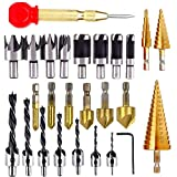 26 brocas avellanadas, herramientas de perforación para carpintería que incluyen 8 piezas de herramientas para cortar madera (7 brocas de tres puntas, 6 brocas avellanadas, 3 brocas de cono de paso