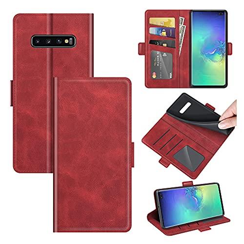 AKC Funda Samsung Galaxy S10 Plus Carcasa Caja Case con Flip Folio Funda Cuero Premium Cover Libro Cartera Magnético Caso Tarjetero y Suporte-Rojo