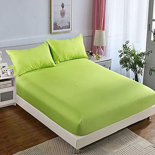 CYYyang Protector de colchón Transpirable.Rizo Bambú. Sábana de Cama de Color Puro de una Pieza Antideslizante-Fruta Verde_180x200cm