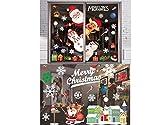 Lypumso Pegatinas de Navidad, Pegatinas de PVC Estático Autoadhesivas para Ventana Escaparate Casa Tienda, Calcomanías Santa Claus Copos de Nieve DIY Decoración y Fiesta Navideña, 2 Piezas