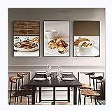 Panel de impresión de pared nórdico desayuno comida cartel café trigo pan arándano gofres lienzo pintura pared arte cuadros modulares decoración de cocina 40x50cm3PCS Noframe