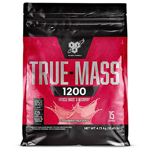 BSN True Mass 1200, Proteine in Polvere per Aumento della Massa Muscolare, Proteine del Latte e Carboidrati, Milkshake al Fragola, 15 Porzioni, 4.73 kg