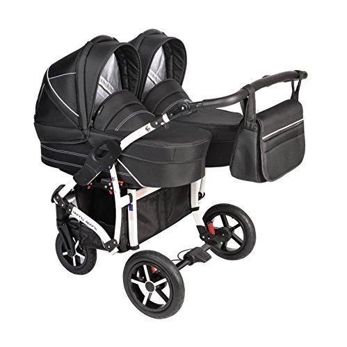 Dorjan Danny Sport Twin Zwillingskinderwagen Geschwisterwagen Duett Duo Buggy Kinderwagen System + Wickeltasche + Regenschutz + Insektenschutz + Adapter