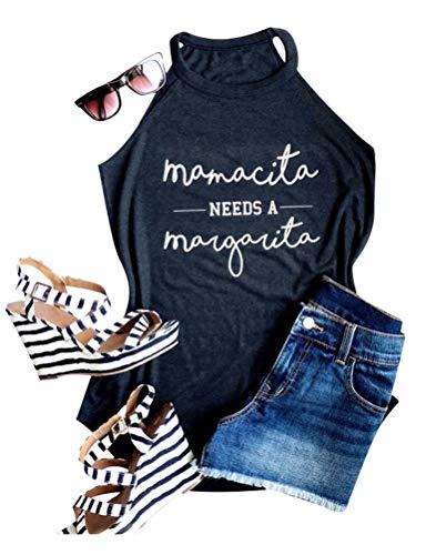 YUHX Mamacita Needs A Margarita Camiseta sin Mangas con Cuello Halter y Top con Estampado de Letras y Camiseta Verano
