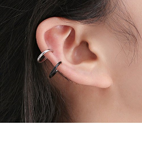qtalkie Unisex simple y delgado aleación anillo aro Clip en los pendientes, no piered