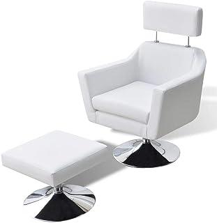 UnfadeMemory Relax Sillón Giratorio para TV de Salon con Correspondiente Reposapiés,Silla de Relax,Decoración de Hogar Habitación,Cuero Sintético,65x59x86cm (Blanco)