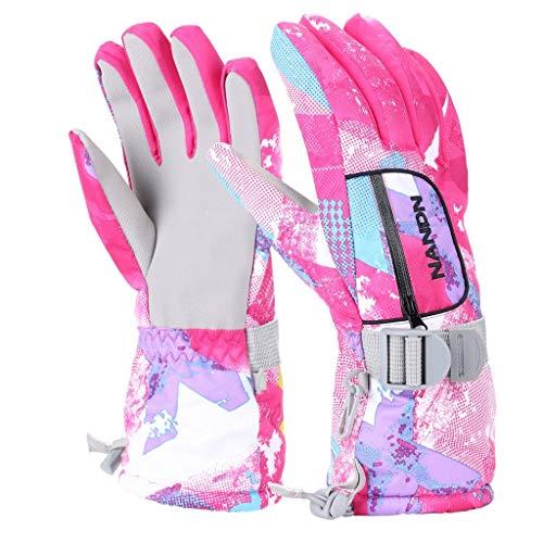 VERTAST Kinder Damen Herren Skihandschuhe Winddichte wasserdichte Winter warme Handschuhe Fahrradhandschuhe, Rosen Graffiti, S