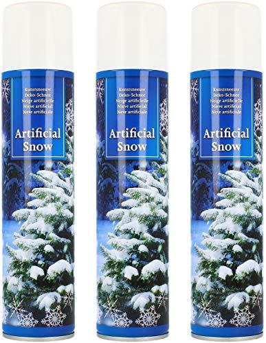 com-four® 3X Kunstschnee - Spraydose mit Dekoschnee - Schneespray zum Dekorieren zu Weihnachten (03 Stück - 300ml/Schnee)