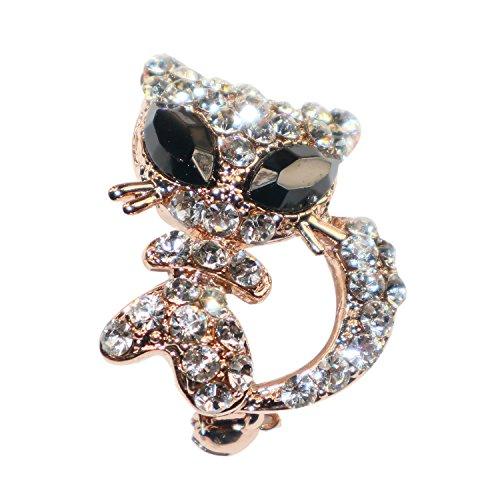 Broche de platino para gato de lujo para mujer, elegante, con ojos negros