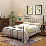 Metal Bed Frame Full Size with Headboard and Footboard High Strength Support Reinforced Metal Heavy Duty Steel Slabs (Full, Gray Silver)