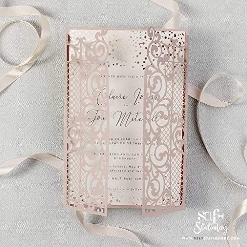 Set mit 50 Einladungen Das rosa Tor Einladungskarten + KUVERT Lasergeschnittene mit Spitze - Hochzeitskarten Einladungen edles Papier für Gebustag, Hochzeit, Taufe, Scrapbooking