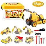 Take Apart Toy STEM 7-in-1 Truck Car Toys in Box Build Your Own Construction Set with Drill Tools Gift Learning Toys for Kids 3 4 5 6 7 Children, 68 pcs