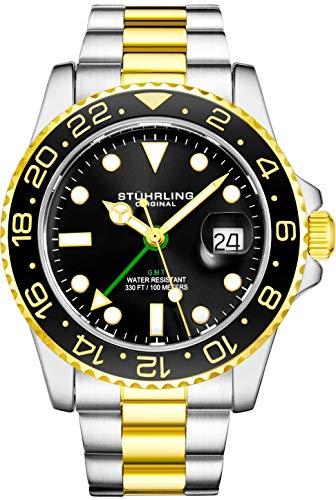 Stuhrling Original Herren Edelstahl Dreireihiges Armband GMT Uhr - Schweizer Quarz, Dual Time, Quickset Datum mit verschraubter Krone, wasserdicht bis 10 ATM (Black/Gold)