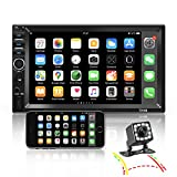 Nhopeew Double Din Car Stereo with Bluetooth and Backup Camera 7 Inch Touch Screen Car Radio Support AUX/USB/TF Card/Mirror Link/Steering Wheel Control
