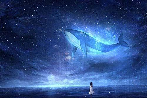 symzl Puzzel 1000 stukjes, volwassen houten puzzel met hoge moeilijkheidsgraad, leuke spellen Een beste cadeau voor een vriend en een kind - Starry Blue Whale