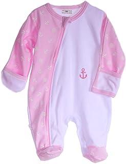 La Bortini Strampler Baby Schlafanzug mit Reißverschluss Overall 50-104 Anzug Weiß Rosa mit Anker