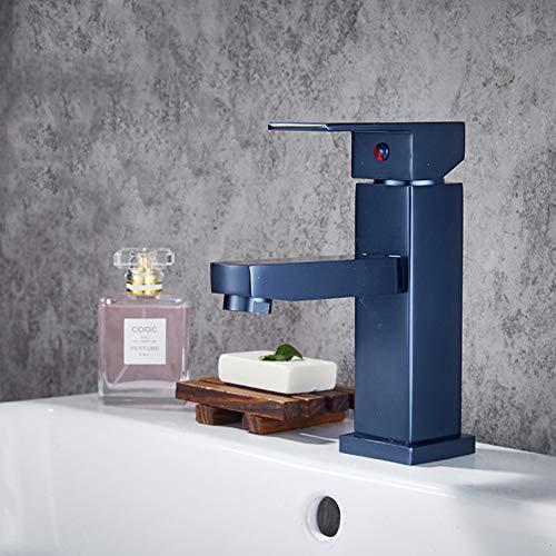 Grifos de lavabo YHSGY Negro/Oro Rosa/Color Azul Grifo Monomando Lavabo Agua Fría Y Caliente Grifo De Baño Estilo De La Moda Grifos Mezclador