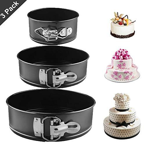 Gxhong Springform, Kuchenform Rund Inspiration Springform Cake Pans Runde, Backform mit Antihaftbeschichtung, Kuchenform mit Flachboden - 3 Größen Enthält 4