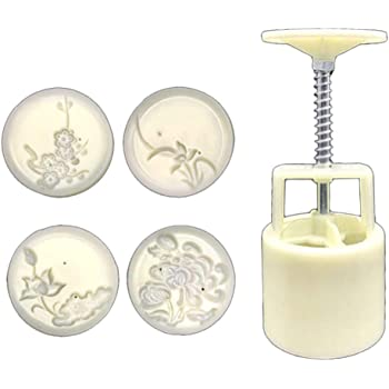 NOWON Stampo per Torta Luna 50 g 4 timbri Orchidea Prugna Stampo per Pasticceria a Pressione a Mano Mooncake Fai da Te