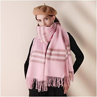 MUZIWENJU Wool Scarf, Ladies Plaid Shawl for Fall and Winter Leisure Warm (Three Colors Optional) (Color : Pink)