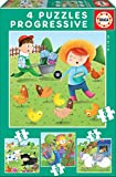 Educa - Animales de la Granja 4 Puzzles Progresivos, Multicolor, 17145