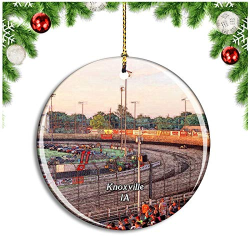 Weekino Knoxville Raceway Iowa USA Christmas Ornament Xmas Tree Decoration Hanging Pendant Travel Souvenir Collection Double Sided Porcelain 2.85 Inch