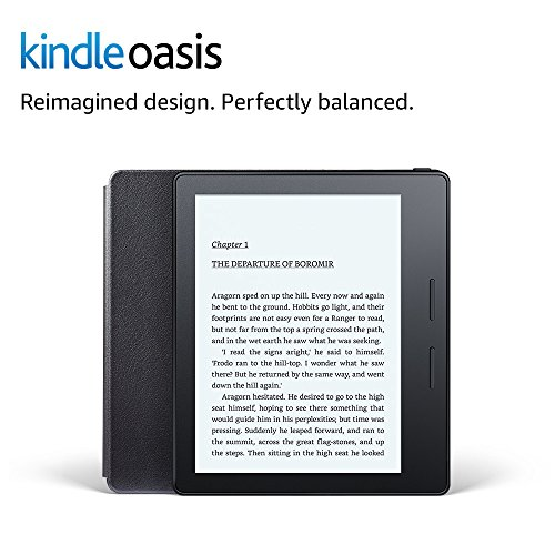 """Kindle Oasis E-reader with Leather Charging Cover - Black, 6"""" High-Resolution Display (300 ppi), Wi-Fi, Built-In Audible - Includes Special Offers (Previous Generation - 8th)"""