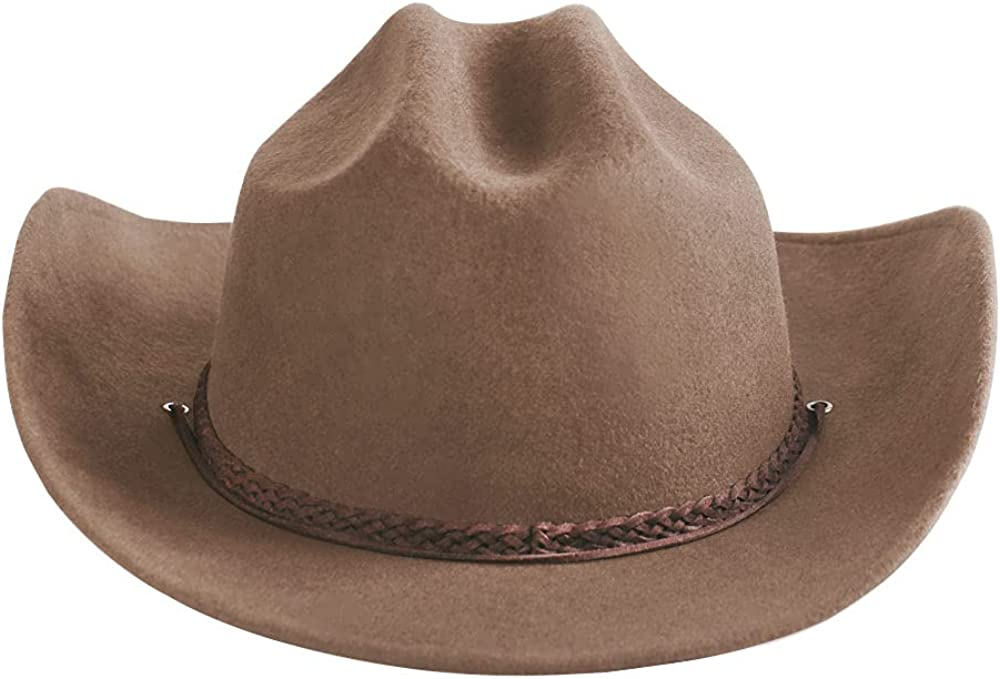 Samplife Western Cowboy Hat Men Mexican Style Cowgirl Wool Fedora Cattleman Adult Outback(Large)