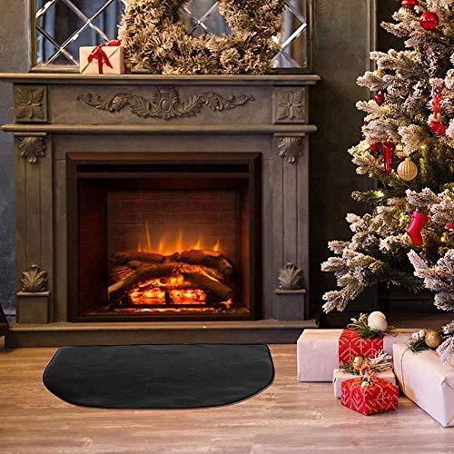 Hangrow Tapis ignifuge, tapis de foyer Fireplacemat, tapis de foyer de cheminée, coussin de protection résistant au feu, couverture ignifuge en fibre de verre demi-ronde ignifuge (50 * 80cm)
