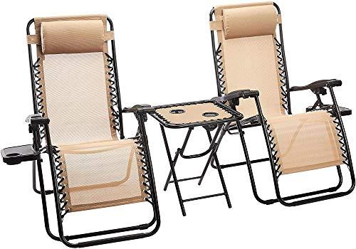 DFGWS Set da 2 Sedia Sdraio a Dondolo Ergonomica Reclinabile,Sedie a Sdraio Zero Gravity con tavolino Poggiapiedi e Porta Bicchieri da Giardino Textilene - 163 x 65 x 110 cm (L x l x H) Beige