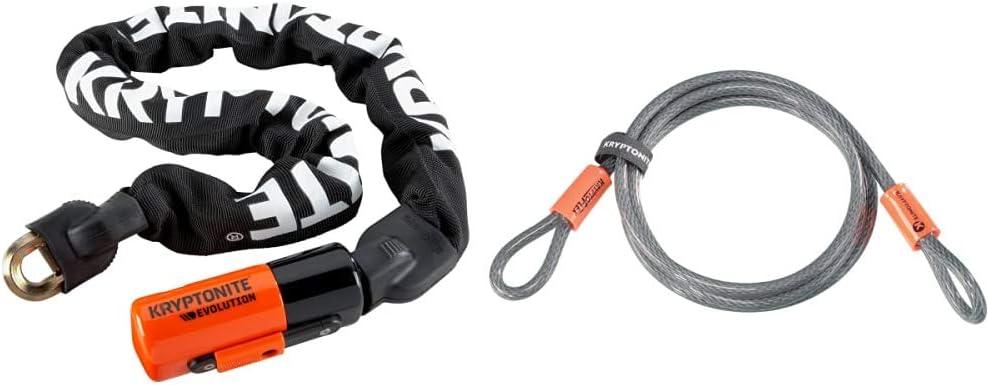 Kryptonite Unisexs Evolution Chain Lock 10mm x 55cm Black//Orange