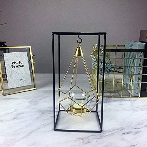 Kandelaars Voor In De Woonkamer Scandinavische Stijl Geometrisch Ontwerp Goudglas Ijzeren Kandelaar Kandelaar Voor Kopkaarsen Accessoires Voor Thuis Bruiloftdecoratie (Kleur: C) (Kleur: A, Maat: -)