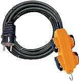 Brennenstuhl Rallonge electrique Powerblock 4 prises à clapets (câble 10m H07RN-F 3G2,5 avec Crochet , IP44, Noir & Jaune), Fabrication Francaise