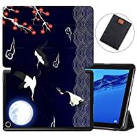 MAITTAO Slim Folio Case For Huawei MediaPad M5 Lite 10 2018 Release, Magentic Smart-Shell Stand Cover with Wake/Sleep for Mediapad M5 lite 10.1 Inch Tablet Sleeve Bag 2 in 1, Totem Crane 1