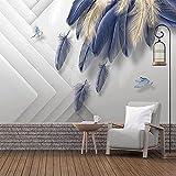 Fondo de pantalla Fotomurales Geometría de plumas azules 177.16 x 118.11 inches - 9 StripsPapel pintado tejido no tejido Decoración De Pared Sala Cuarto Oficina Salón