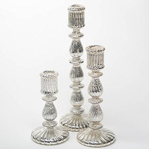 Richland Ribbed Unique Mercury Glass Taper Candle Holder Set of 3