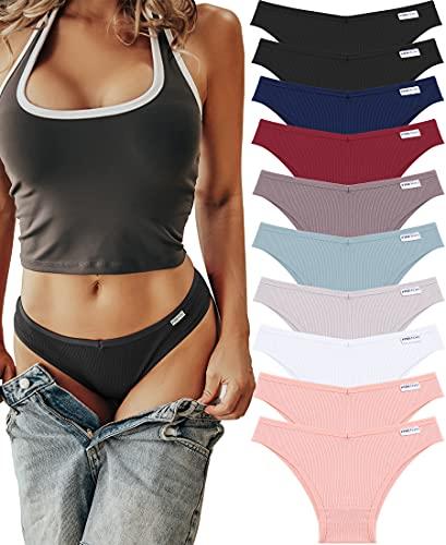 FINE TOO 10pcs Slip Cotone Donna Slip brasiliani Bikini Perizoma Set Mutande di cotone sexy Mutande...