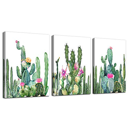 Canvas Wall Art for living room bathroom Wall Decor for bedroom kitchen artwork Canvas Prints green watercolor cactus painting 3Pieces abstract Modern framed office Home decorations family picture