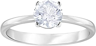 Swarovski Attract Round Ring, White, Rhodium Plated, Size 7