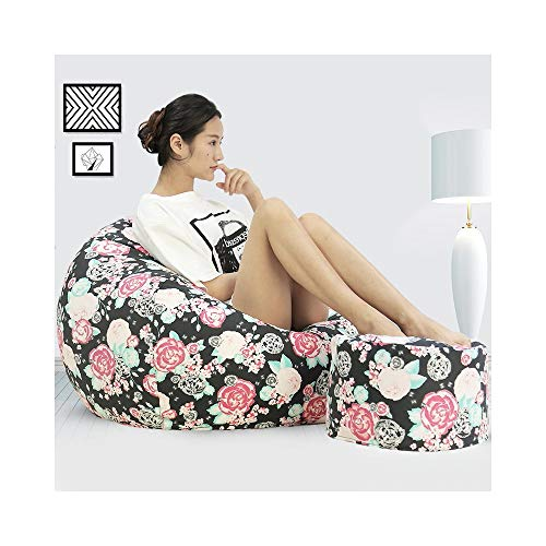 ZYLE Multi-Color Lazy Sofa Tatami Sacchetto di Fagioli Singolo Cotone Sedile Camera da Letto Soggiorno Moda Wild Back Divano Rimovibile e Lavabile (Color : Rose, Size : M)
