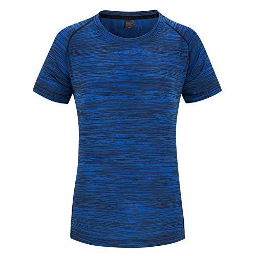 Lwieui Mens Ropa de Gimnasia Montañismo al Aire Libre Correr Fitness Hombres y Mujeres Camiseta de Manga Corta de Secado rápido Camisas y Camisetas (Color : Blue-Female, Size : 5XL)