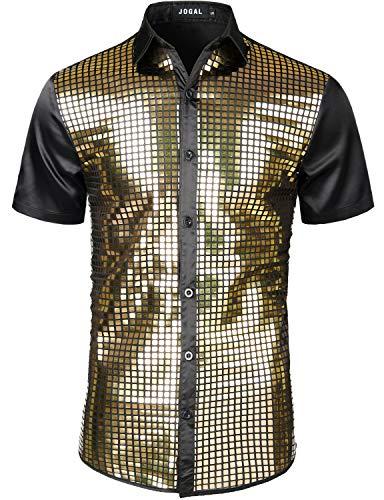 JOGAL Herren Pailletten Hemd 70er Kurzarm Disco Party Kostüm Large SchwarzGold