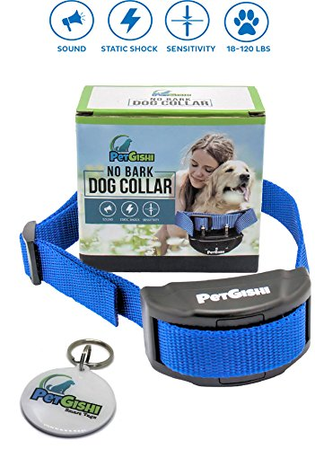 No Bark Collar by PetGishi Extremely Effective NO HARM Sound and Shock Dog Anti Bark Collar HUMANE Barking Control 7 Adjustable Sensitivity for Small Medium Large Dogs
