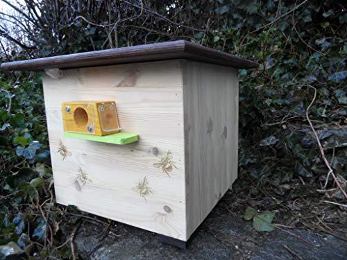 XXXL luxus Hummelkasten mit Wachsmottensperre, 2x Sichtfenster und Nistmaterial Imprägniert Wetterfest Bienenhaus Hummelhaus Nistkasten Hummelvilla Bienen...