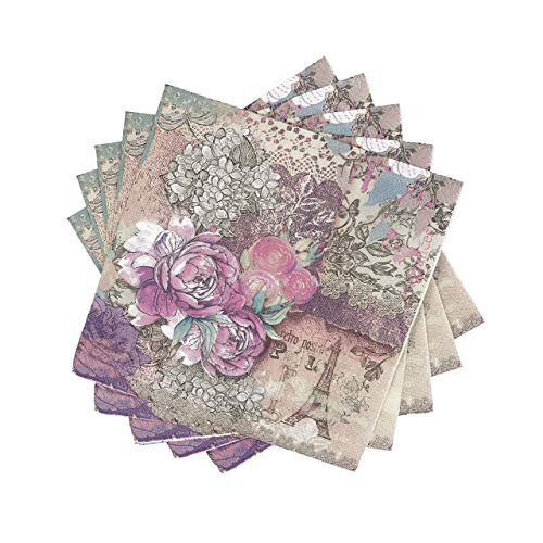 WallyE - Servilletas de papel para decoración de jardín francés, estilo chic, 20 unidades
