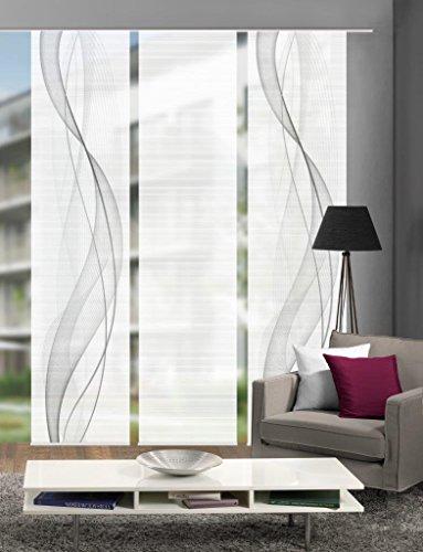 Vision S 88433-0307 | 3er-Set Schiebegardine Heights | halb-transparenter Stoff in Bambus-Optik | 3X 260x60 cm | Farbe: Grau