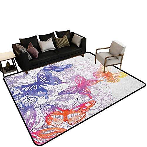 MsShe Vierkante tapijt aquarel, Exotische Jungles van Hawaii Geïnspireerd Verse Groene Bladeren Tropische Planten Art, Groen Roze Wit