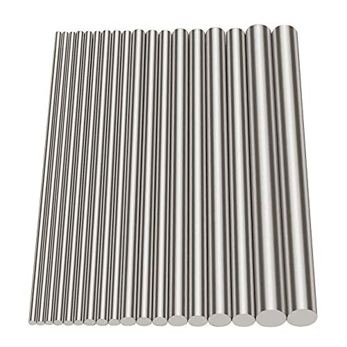 Glarks 18Pcs Stainless Steel Solid Round Rod Lathe Bar Stock Assorted for DIY Craft Tool, Diameter 2.5-8mm Length 100mm